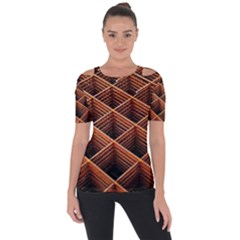 Metal Grid Framework Creates An Abstract Shoulder Cut Out Short Sleeve Top