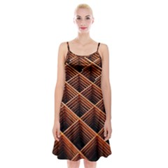 Metal Grid Framework Creates An Abstract Spaghetti Strap Velvet Dress