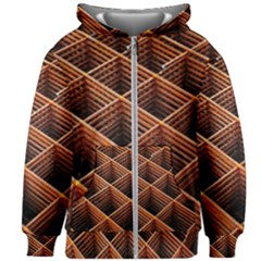 Metal Grid Framework Creates An Abstract Kids Zipper Hoodie Without Drawstring