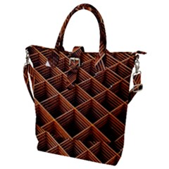 Metal Grid Framework Creates An Abstract Buckle Top Tote Bag