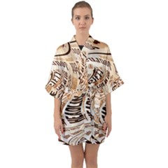 Abstract Newspaper Background Quarter Sleeve Kimono Robe