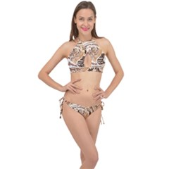 Abstract Newspaper Background Cross Front Halter Bikini Set