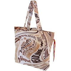 Abstract Newspaper Background Drawstring Tote Bag by Jojostore