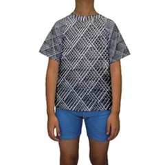 Grid Wire Mesh Stainless Rods Rods Raster Kids  Short Sleeve Swimwear
