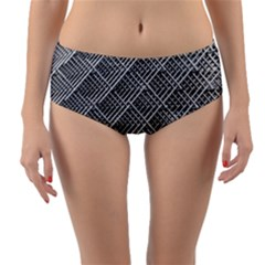 Grid Wire Mesh Stainless Rods Rods Raster Reversible Mid Waist Bikini Bottoms