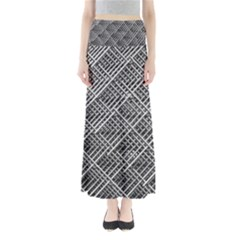 Grid Wire Mesh Stainless Rods Rods Raster Full Length Maxi Skirt by Jojostore