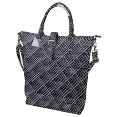 Grid Wire Mesh Stainless Rods Rods Raster Buckle Top Tote Bag