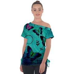 Texture Butterflies Background Tie Up Tee by Jojostore