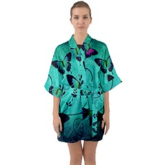 Texture Butterflies Background Quarter Sleeve Kimono Robe by Jojostore