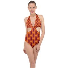 Fractal Multicolored Background Halter Front Plunge Swimsuit