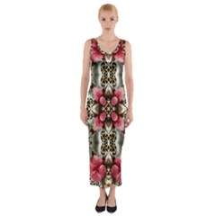 Flowers Fabric Fitted Maxi Dress