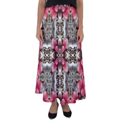 Flowers Fabric Flared Maxi Skirt