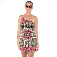 Flowers Fabric One Soulder Bodycon Dress