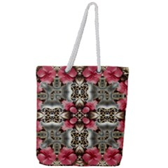 Flowers Fabric Full Print Rope Handle Tote (large)