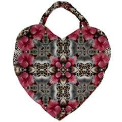 Flowers Fabric Giant Heart Shaped Tote by Jojostore