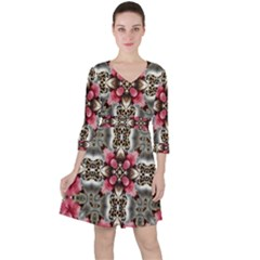 Flowers Fabric Ruffle Dress