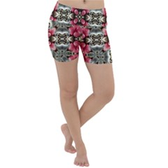 Flowers Fabric Lightweight Velour Yoga Shorts
