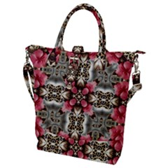 Flowers Fabric Buckle Top Tote Bag