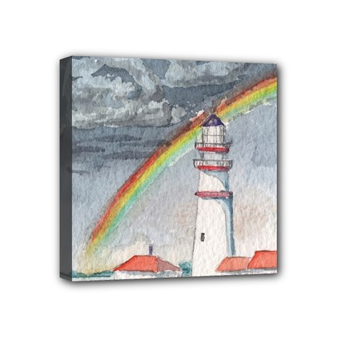 Watercolour Lighthouse Rainbow Mini Canvas 4  X 4  (stretched) by Jojostore