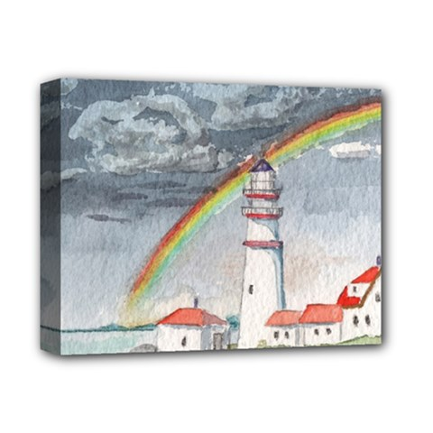 Watercolour Lighthouse Rainbow Deluxe Canvas 14  X 11  (stretched) by Jojostore