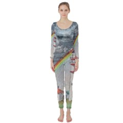 Watercolour Lighthouse Rainbow Long Sleeve Catsuit by Jojostore