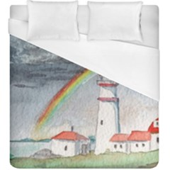 Watercolour Lighthouse Rainbow Duvet Cover (king Size)