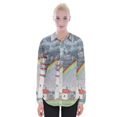 Watercolour Lighthouse Rainbow Womens Long Sleeve Shirt