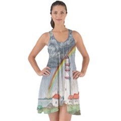 Watercolour Lighthouse Rainbow Show Some Back Chiffon Dress