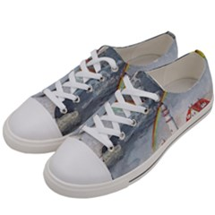 Watercolour Lighthouse Rainbow Women s Low Top Canvas Sneakers by Jojostore