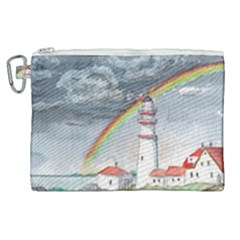 Watercolour Lighthouse Rainbow Canvas Cosmetic Bag (xl) by Jojostore