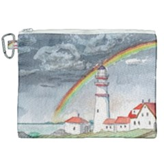 Watercolour Lighthouse Rainbow Canvas Cosmetic Bag (xxl) by Jojostore