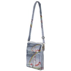 Watercolour Lighthouse Rainbow Multi Function Travel Bag