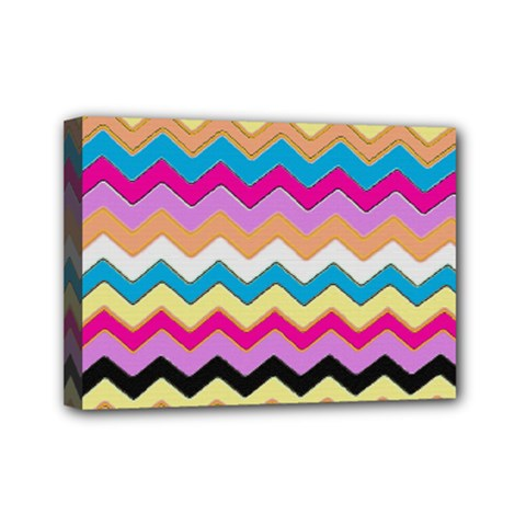 Chevrons Pattern Art Background Mini Canvas 7  X 5  (stretched) by Jojostore