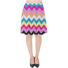 Chevrons Pattern Art Background Velvet High Waist Skirt