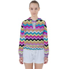 Chevrons Pattern Art Background Women s Tie Up Sweat