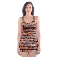 Roof Tiles On A Country House Skater Dress Swimsuit by Jojostore