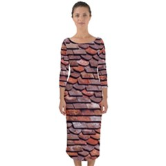 Roof Tiles On A Country House Quarter Sleeve Midi Bodycon Dress by Jojostore