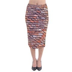 Roof Tiles On A Country House Velvet Midi Pencil Skirt by Jojostore