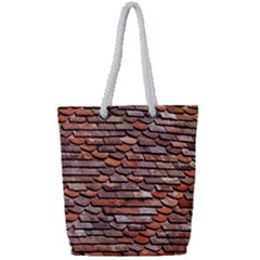 Roof Tiles On A Country House Full Print Rope Handle Tote (small)