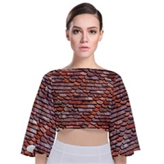 Roof Tiles On A Country House Tie Back Butterfly Sleeve Chiffon Top