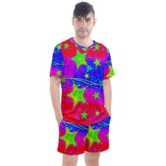 Red Background With A Stars Men s Mesh Tee And Shorts Set by Jojostore