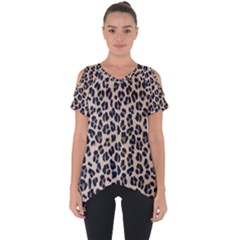 Background Pattern Leopard Cut Out Side Drop Tee