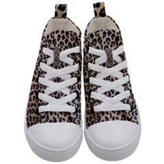 Background Pattern Leopard Kid s Mid Top Canvas Sneakers