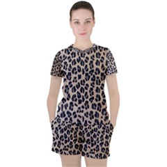 Background Pattern Leopard Women s Tee And Shorts Set
