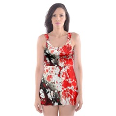 Red Fractal Art Skater Dress Swimsuit