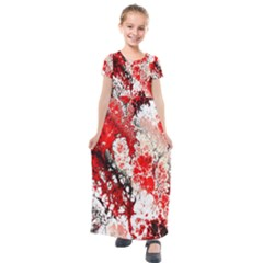 Red Fractal Art Kids  Short Sleeve Maxi Dress by Jojostore
