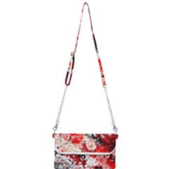 Red Fractal Art Mini Crossbody Handbag by Jojostore