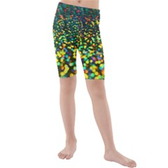 Construction Paper Iridescent Kids  Mid Length Swim Shorts by Jojostore