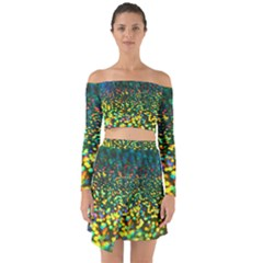 Construction Paper Iridescent Off Shoulder Top With Skirt Set