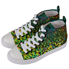 Construction Paper Iridescent Women s Mid Top Canvas Sneakers by Jojostore